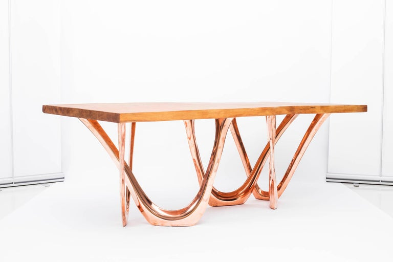G-Table CU+K in Copper-Cladded Steel with Kauri Wood Top by Zieta In Excellent Condition For Sale In New York, NY