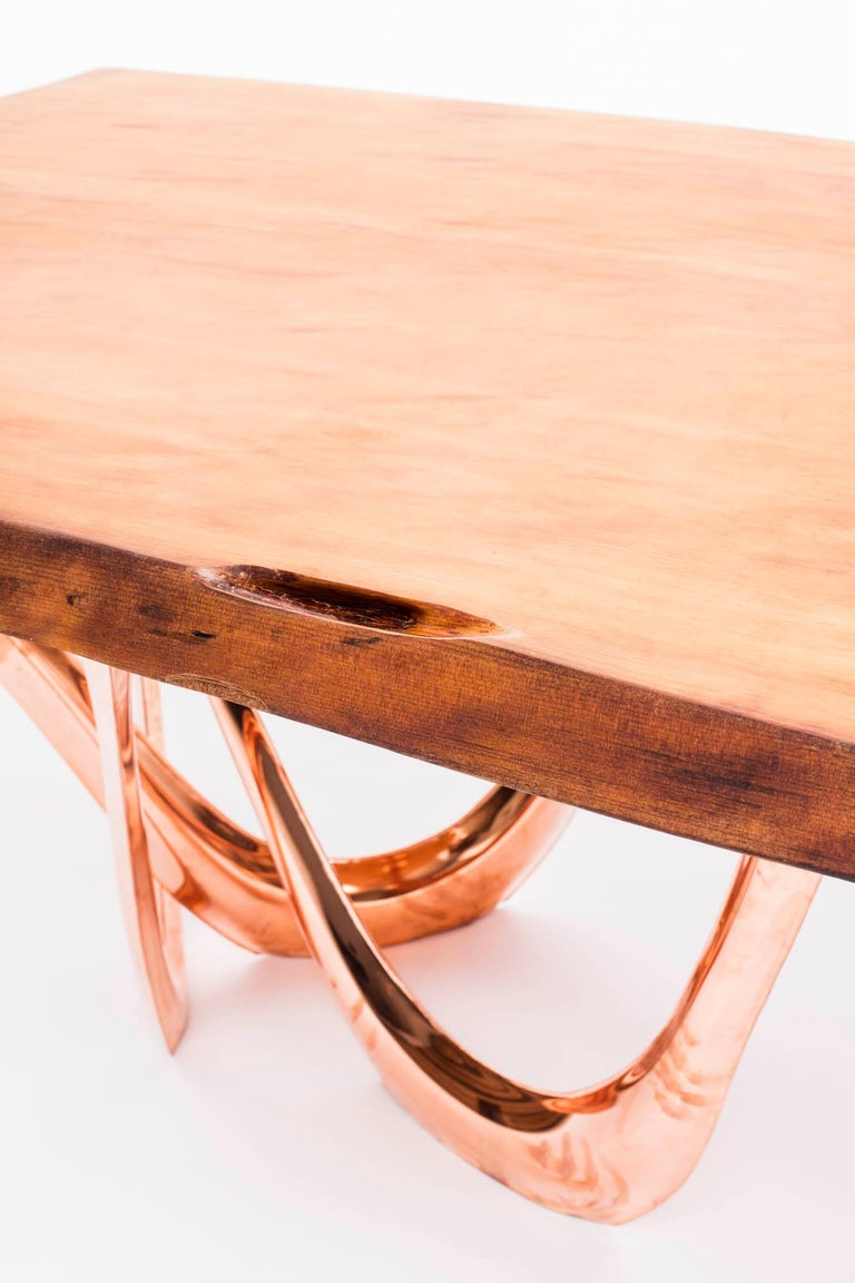 G-Table CU+K in Copper-Cladded Steel with Kauri Wood Top by Zieta For Sale 2
