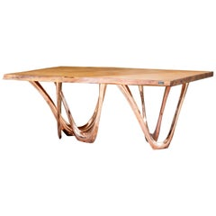 G-Table CU+K in Copper-Cladded Steel with Kauri Wood Top by Zieta