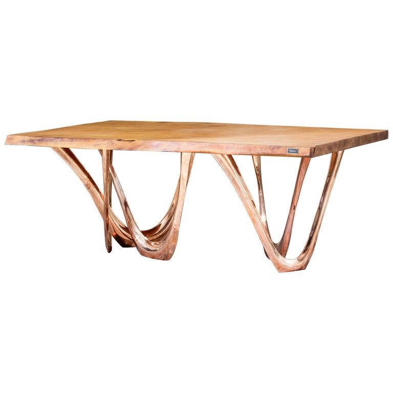 G-Table CU+K in Copper-Cladded Steel with Kauri Wood Top by Zieta For Sale