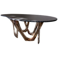 G-Table Gold Granite with Granite Top and Flamed Gold Steel Base by Zieta