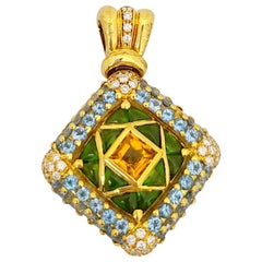G. Verdi 12.32 Carat Semi Precious and .90 Carat Diamond Pendant