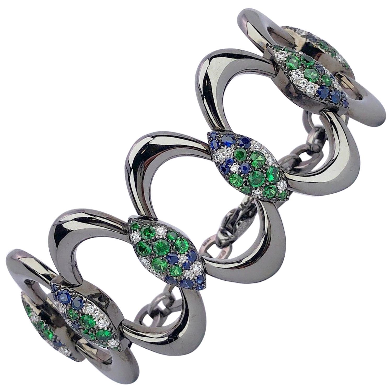 G. Verdi 18 Karat Blackened Gold, Blue Sapphire, Diamond and Tsavorite Bracelet