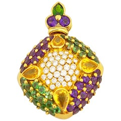 G. Verdi 18 Karat Gold, 1.14 Carat Diamond, Sapphire, and Semi Precious Pendant