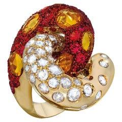 G. Verdi 18 Karat Yellow Gold, Diamond, Orange and Yellow Sapphire Cocktail Ring