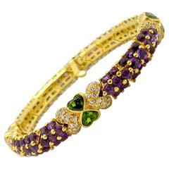 G. Verdi 18KT. Gold Bracelet with 15.69Cts of Amethyst & Tsavorites, & Diamonds