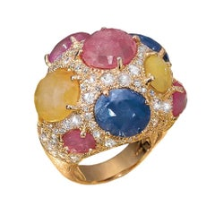 G. Verdi 18KT RG Ring with 25.99 Carat of Multicolored Sapphires and Diamonds