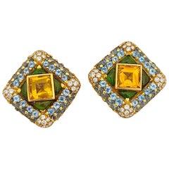 G. Verdi 18Kt. Yellow Gold, 12.32Ct. Semi Precious & 1.77 Carat Diamond Earrings