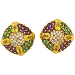 G. Verdi 18kt. Yellow Gold, .94ct. Diamond, Sapphire and Semi Precious Earrings