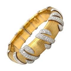 G. Verdi 18kt Yellow Gold and Diamond 2.51ct. Cuff Bracelet