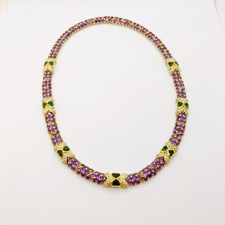 Contemporary G. Verdi 18KT Yellow Gold Necklace with 32.19Ct. Amethyst & Tsavorites, Diamonds For Sale
