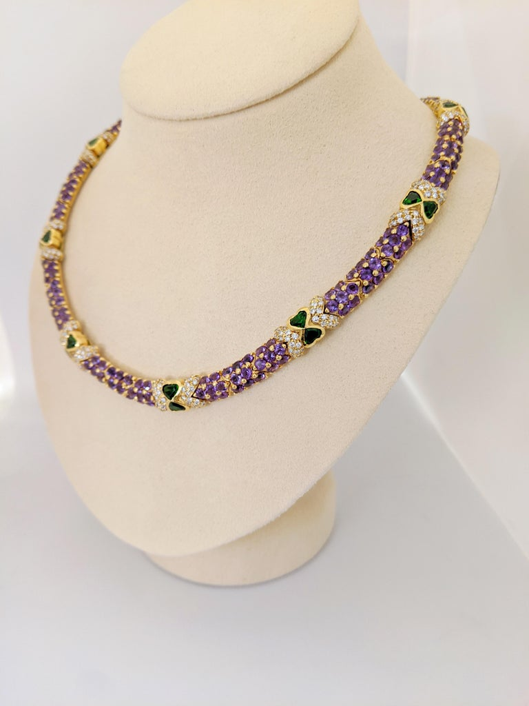 Round Cut G. Verdi 18KT Yellow Gold Necklace with 32.19Ct. Amethyst & Tsavorites, Diamonds For Sale