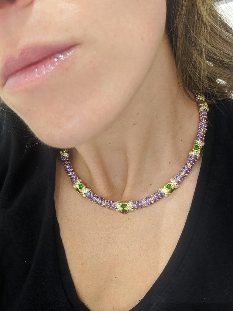 G. Verdi 18KT Yellow Gold Necklace with 32.19Ct. Amethyst & Tsavorites, Diamonds In New Condition For Sale In New York, NY