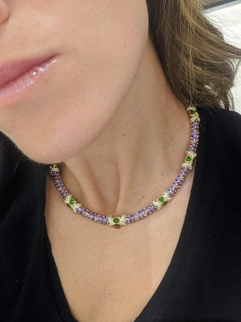 Women's or Men's G. Verdi 18KT Yellow Gold Necklace with 32.19Ct. Amethyst & Tsavorites, Diamonds For Sale