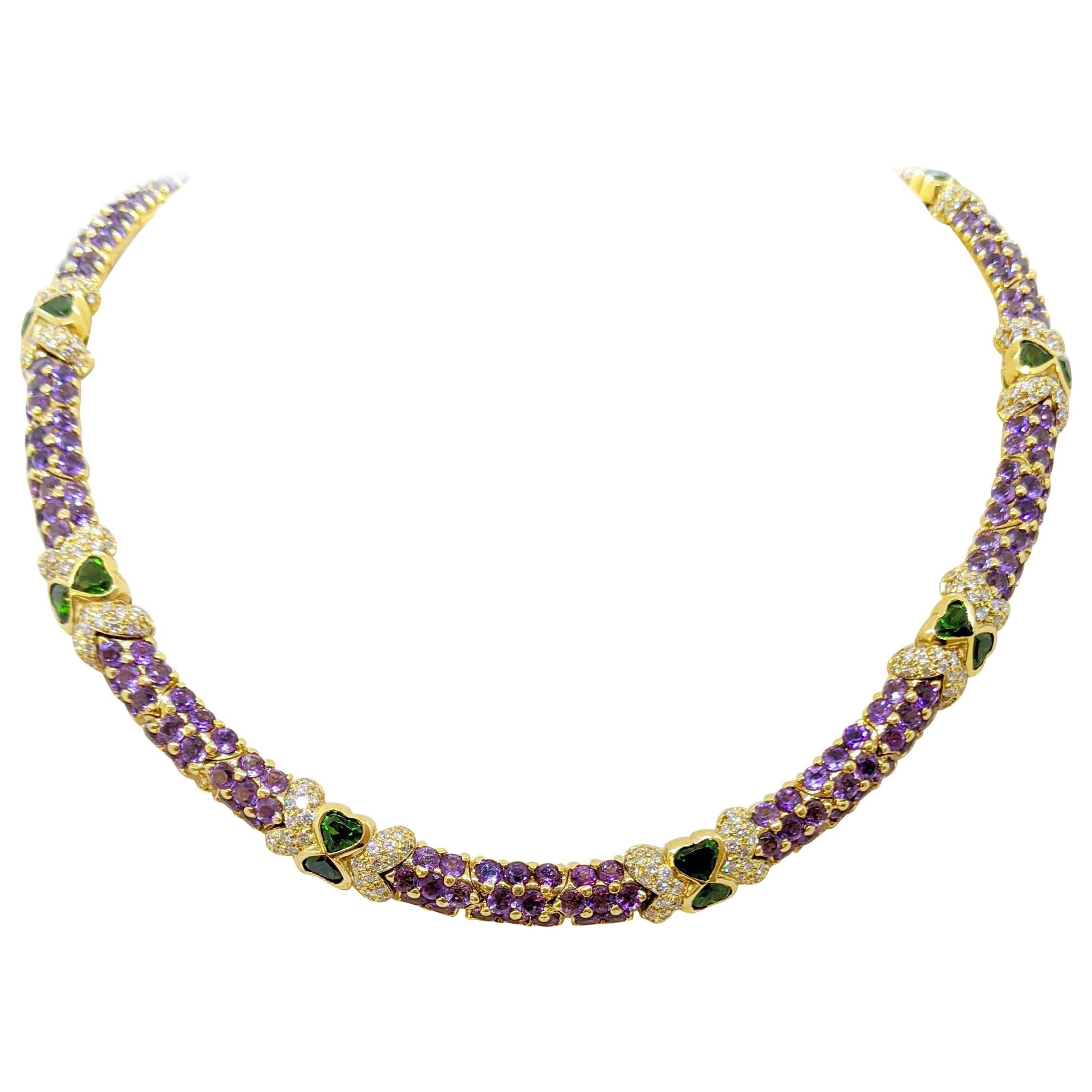 G. Verdi 18KT Yellow Gold Necklace with 32.19Ct. Amethyst & Tsavorites, Diamonds
