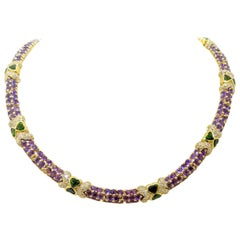 G. Verdi 18KT Yellow Gold Necklace with 32.19Ct. Amethyst & Tsavorites, Diamonds