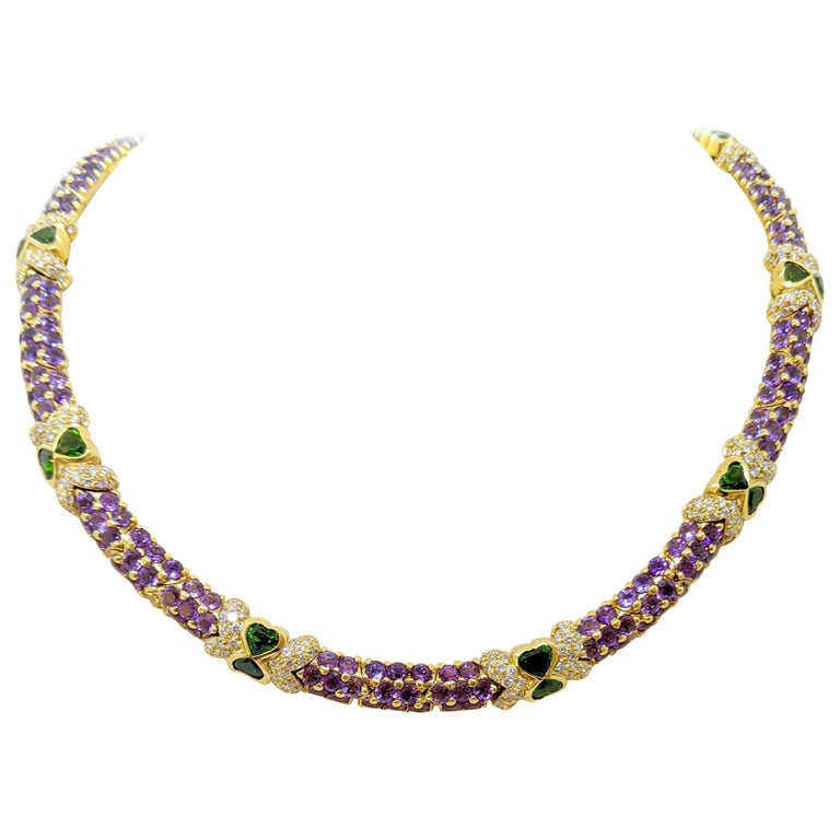G. Verdi 18KT Yellow Gold Necklace with 32.19Ct. Amethyst & Tsavorites, Diamonds For Sale