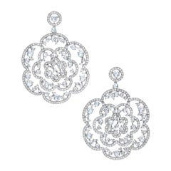 G. Verdi for Cellini 18KT Gold Rose Cut 14.21ct. Diamond Lace Hanging Earrings