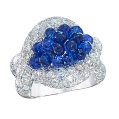 G. Verdi for Cellini 18kt White Gold Briolette Sapphire and Diamond Braid Ring