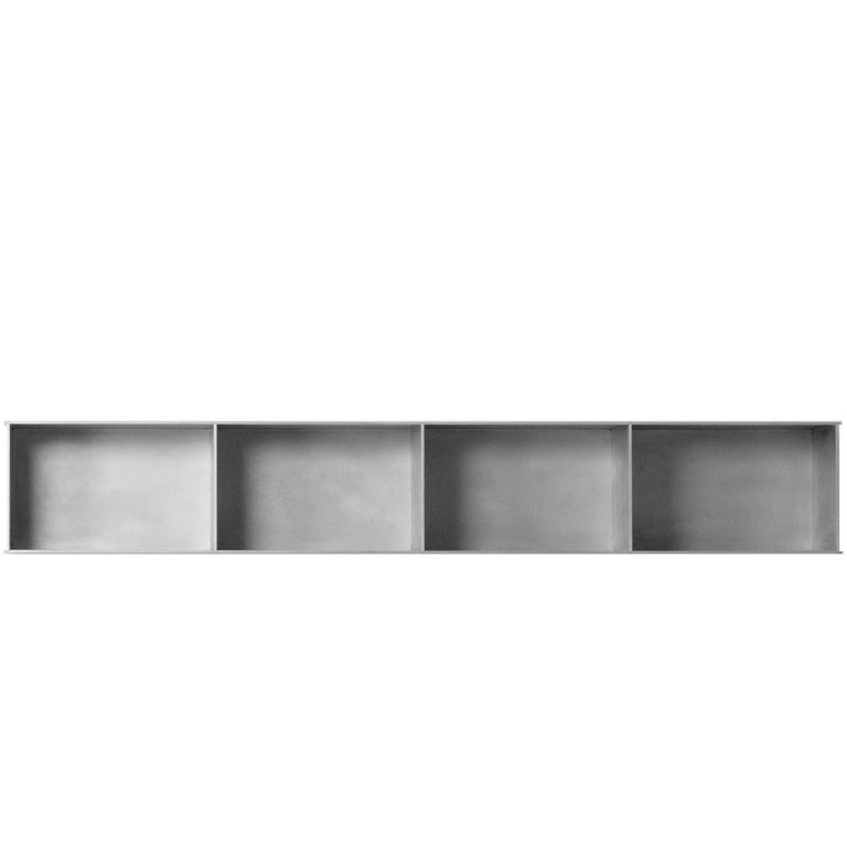 G Wall-Mounted Shelf with Doors in Waxed Aluminum Plate by Jonathan Nesci For Sale 3