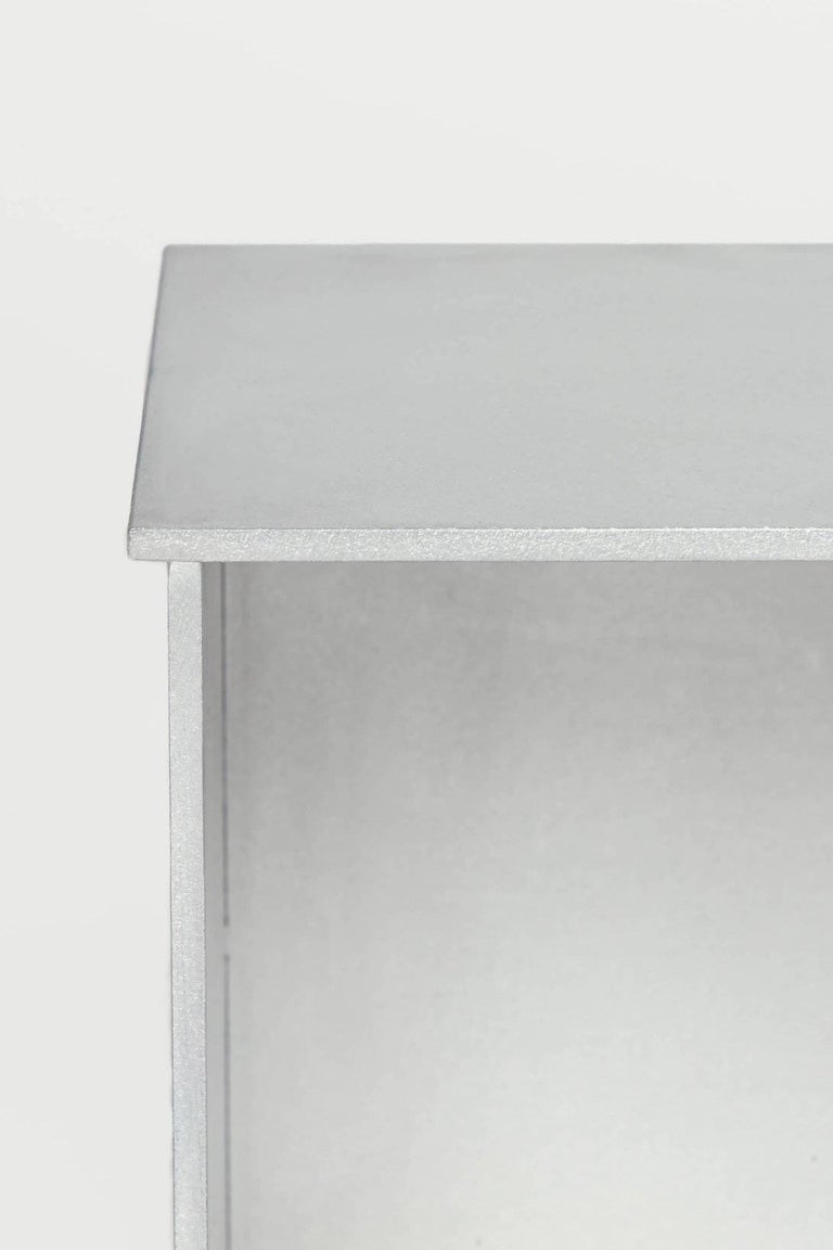 G Wall-Mounted Shelf with Doors in Waxed Aluminum Plate by Jonathan Nesci For Sale 5