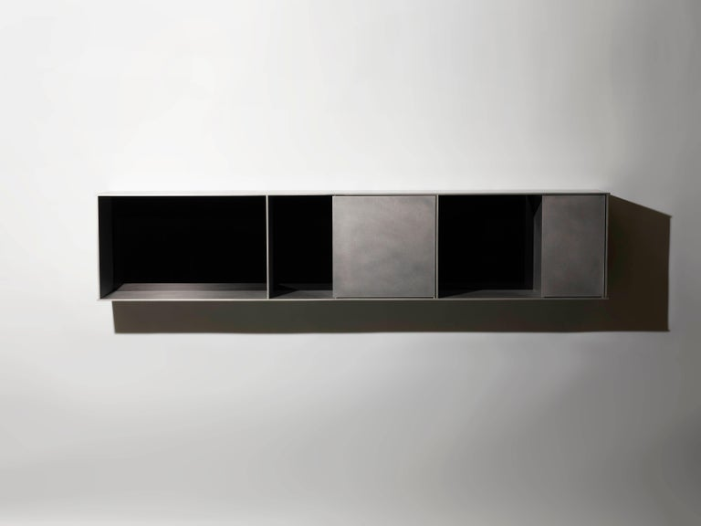 G Wall-Mounted Shelf with Doors in Waxed Aluminum Plate by Jonathan Nesci For Sale 6