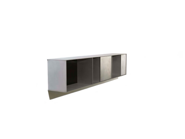 Minimalist G Wall-Mounted Shelf with Doors in Waxed Aluminum Plate by Jonathan Nesci For Sale