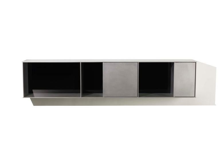 American G Wall-Mounted Shelf with Doors in Waxed Aluminum Plate by Jonathan Nesci For Sale
