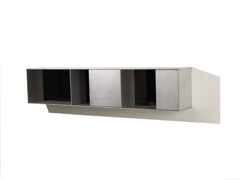 Welded G Wall-Mounted Shelf with Doors in Waxed Aluminum Plate by Jonathan Nesci For Sale