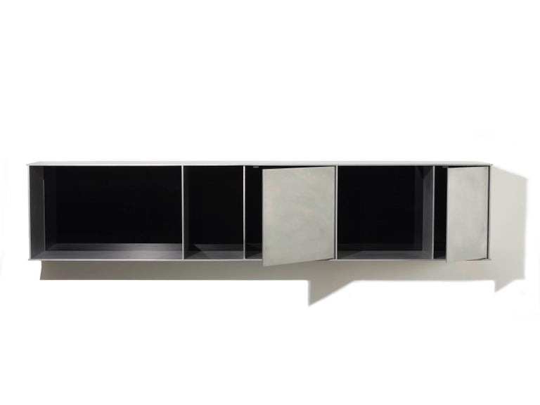 Contemporary G Wall-Mounted Shelf with Doors in Waxed Aluminum Plate by Jonathan Nesci For Sale