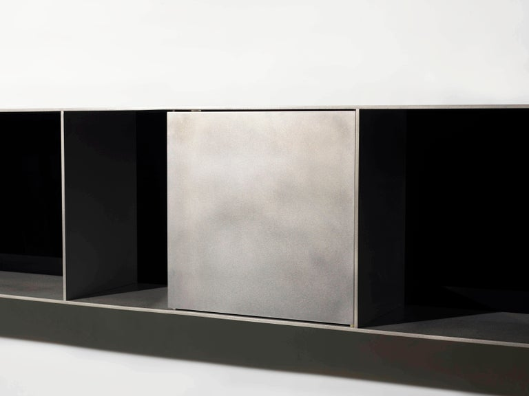 G Wall-Mounted Shelf with Doors in Waxed Aluminum Plate by Jonathan Nesci For Sale 1