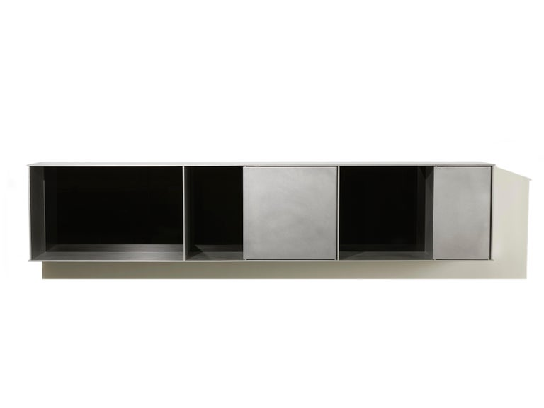 G Wall-Mounted Shelf with Doors in Waxed Aluminum Plate by Jonathan Nesci For Sale 2