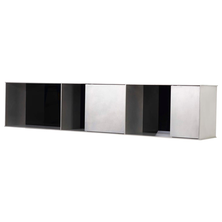 G Wall-Mounted Shelf with Doors in Waxed Aluminum Plate by Jonathan Nesci For Sale