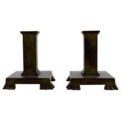 GAB 'Guldsmedsaktiebolaget', a Pair of Art Deco Candleholders in Bronze