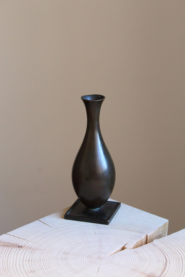 A vase or vessel, designed and produced by GAB, stamped with makers mark, Sweden, 1930s. In cast bronze.  Other designers of the period include Josef Frank, Kaare Klint, Estrid Ericson, and Just Andersen.
