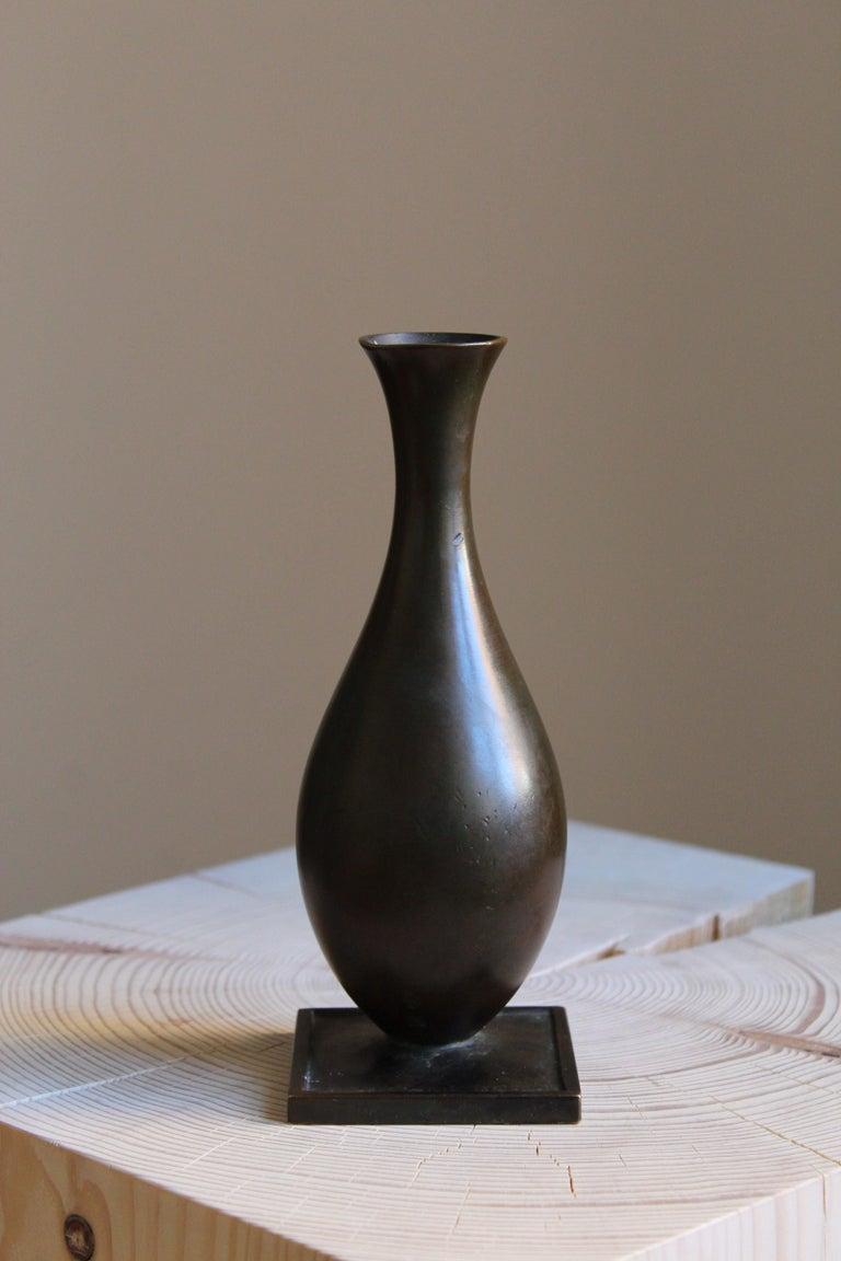 Swedish GAB Guldsmedsaktiebolaget, Small Vase or Vessel, Bronze, Sweden, 1930s For Sale