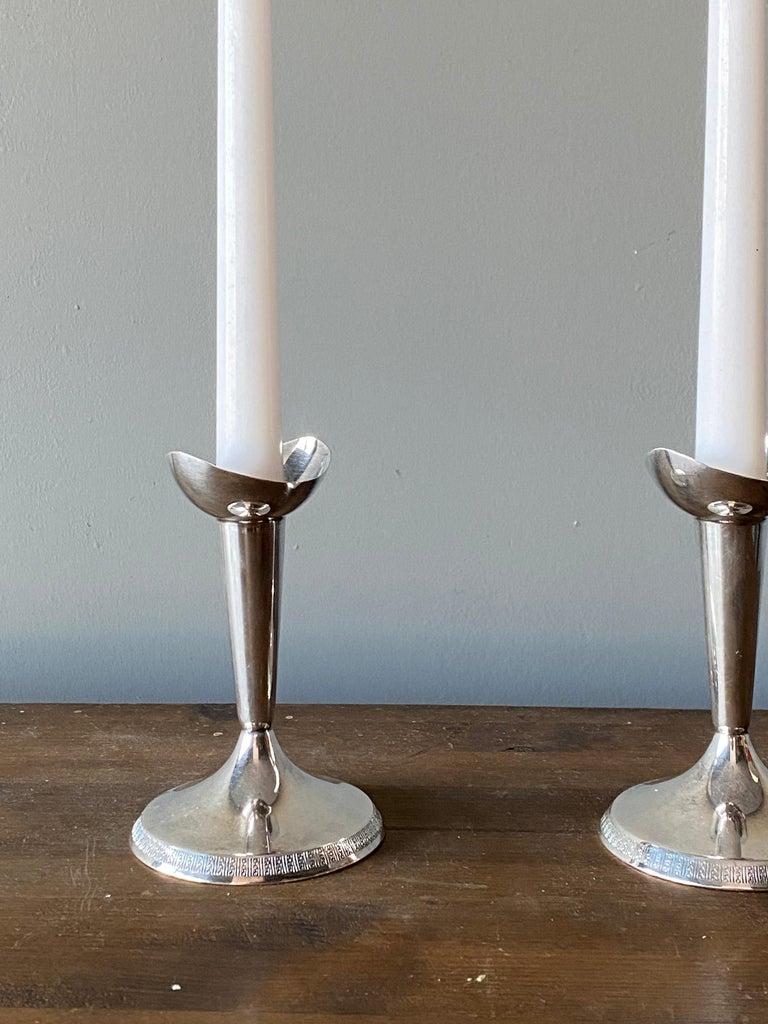 Art Deco GAB, Modernist Candlesticks, Sterling Silver, Sweden, 1930s For Sale