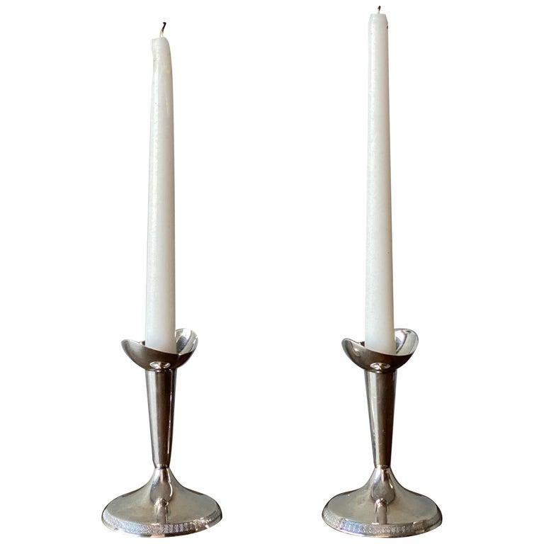 GAB, Modernist Candlesticks, Sterling Silver, Sweden, 1930s For Sale