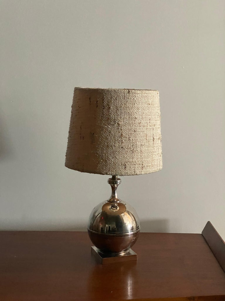 A table lamp by GAB. Executed in finely ornamented pewter, stamped with makers mark, Sweden, 1930s.