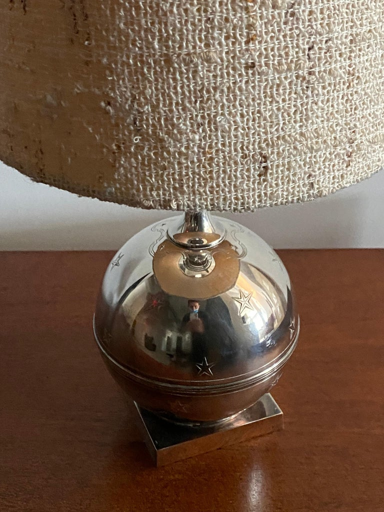 Swedish GAB, Sphere-Shaped Table Lamp, Pewter, Sweden, 1930s For Sale
