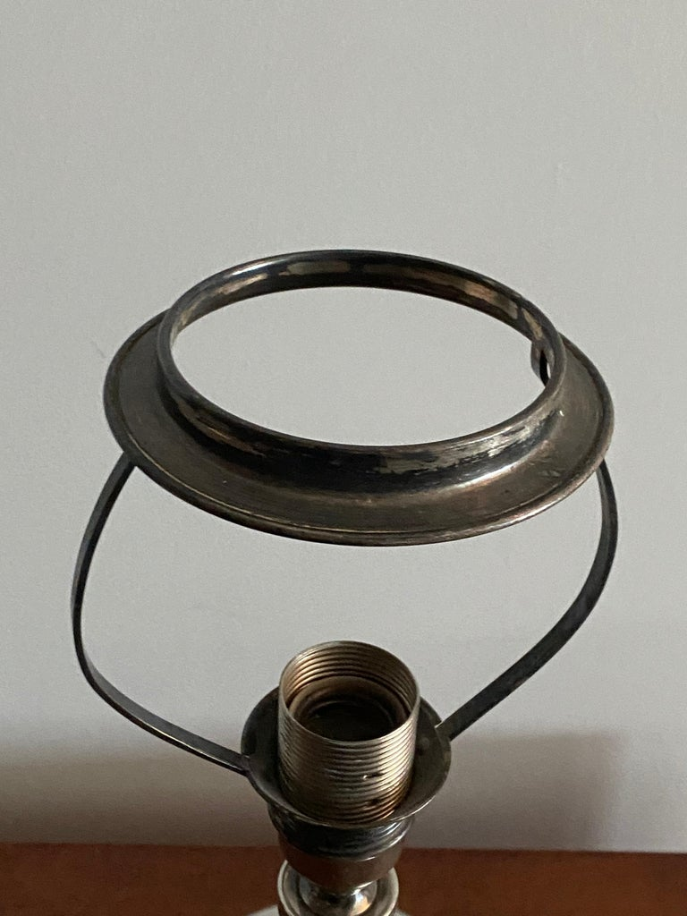 Mid-20th Century GAB, Sphere-Shaped Table Lamp, Pewter, Sweden, 1930s For Sale