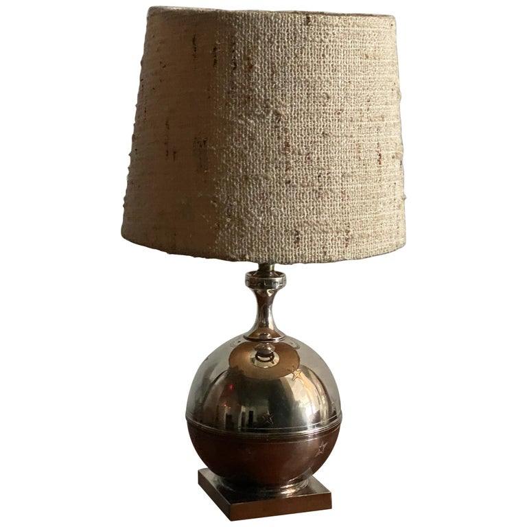 GAB, Sphere-Shaped Table Lamp, Pewter, Sweden, 1930s For Sale