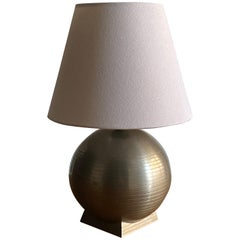 GAB, Sphere-Shaped Table Lamp, Pewter, White Fabric, Sweden, 1930s