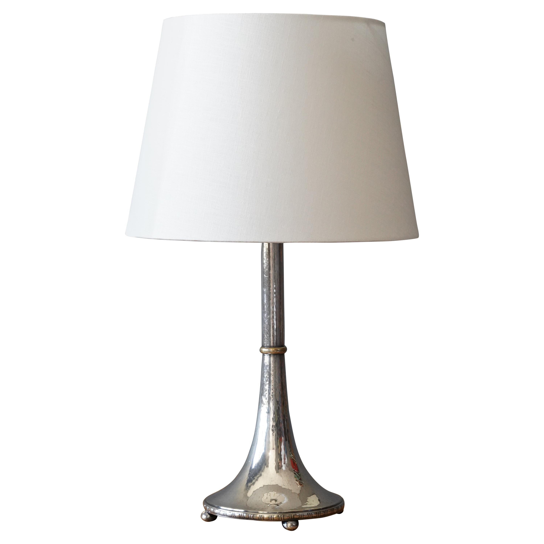 GAB, Table Lamp, Pewter, Brass Sweden, 1930s