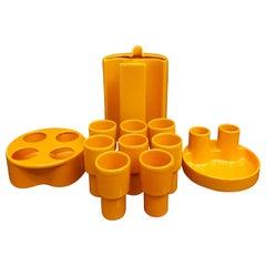 "Gabbianelli Aperitif Set for 8 in Orange Ceramic Mod ""Cd 1"", 70's, Italy"