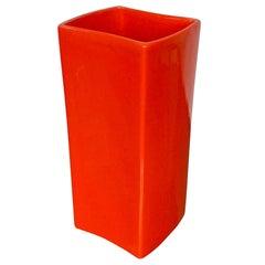 Gabbianelli Orange Ceramic Vase Signed, Italy, 1970s