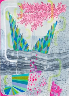 Untitled 371, Vertical Abstract Landscape in Pink, Blue, Teal, Green