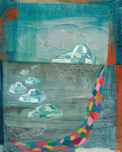 Flux, Vertical Abstract Painting in Blue, Pink, Green, Orange, Red with Icebergs
