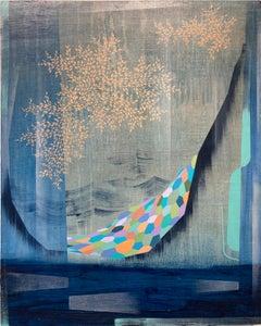 Gateway, Vertical Abstract Painting in Indigo Blue, Peach, Purple, Light Green