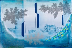 Morning View, Large Horizontal Abstract Landscape in Blue, Green, Teal, Peach